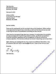 Thank you letter after the job interview. #businessletter, #thankyouletter