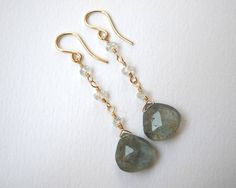 Moss Aquamarine Earrings  Gold Filled by VeronicaRussekJoyas, $72.00