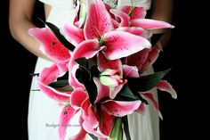 This wedding bouquet is made with real touch stargazer lilies. Can you tell it's artificial? Stargazer Lily Wedding, Lily Bouquet Wedding, Bride Bouquets, Wedding Flowers, Stargazer Lilies, Budget Bride, Long Flowers, Calla Lily, Davids Bridal
