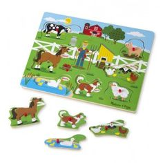Melissa and Doug - Old MacDonald Farm Sound Puzzle: Match the pieces to the pictures on the beautifully carved and illustrated wooden puzzle board to hear Old MacDonald start the song... Old MacDonald had a farm, E-I-E-I-O! Each animal completes its part, for example the pig sings, 'And on the farm he had a pig, E-I-E-I-O. #alltotstreasures #melissaanddoug #oldmacdinaldfarmsoundpuzzle #woodentoys #oldmacdonald #soundpuzzle #farmanimals #learning