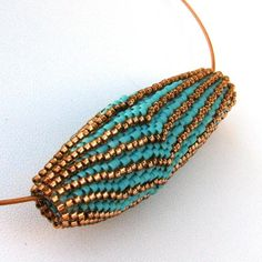Scalloped Blooming Bead in Turquoise and Bronze by SandFibers