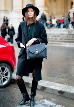 Polished with a wide-brim hat, structured outerwear, ladylike purse + knee-high boots