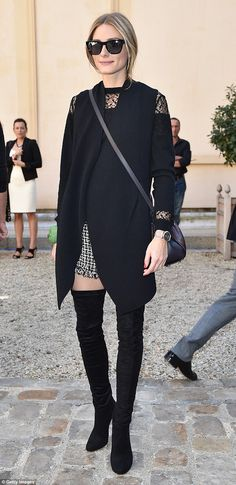Olivia Palermo flashes some flesh in a pair of thigh boots at PFW #dailymail
