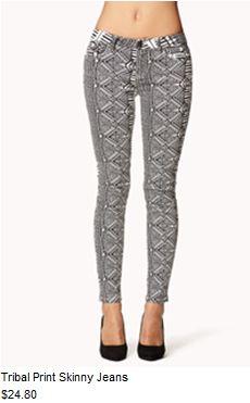 Tribal print skinny jeans #f21