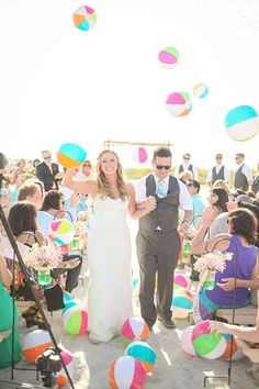 Summer Wedding Ideas Beach wedding ceremony exit with beach ball toss - Our favorite exit toss ideas from real weddings. Wedding Ceremony Ideas, Wedding Exits, Beach Wedding Reception, Beach Ceremony, Beach Wedding Decorations, Wedding Photos, Dream Wedding, Beach Weddings, Wedding Receptions