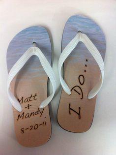 44509c7b4ce3 Wedding Personalized Flip Flop Sandals.  32.95