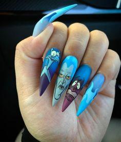 Disney Acrylic Nails, Simple Acrylic Nails, Disney Nails, Best Acrylic Nails, Acrylic Art, Nail Swag, Nagel Hacks, Stiletto Nail Art, Fire Nails