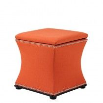Austin orange linen blend stool with black legs and nickel studs. Ottoman Footstool, Tufted Storage Ottoman, Ottomans, Upholstered Stool, Cocktail Ottoman, Modern Bedroom Design, Tufting Buttons, Club Chairs, Luxury Living