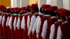 Stewardesses stand in line during the inauguration of the new train line linking Addis Ababa to the Red Sea state of Djibouti, in Addis Ababa, Ethiopia - Wednesday 5 October 2016