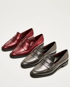 Image 5 of METALLIC LEATHER MOCCASINS from Zara