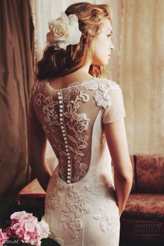 Vintage lace dress with buttons.