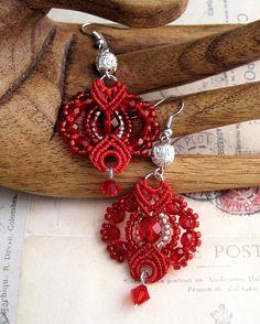 Festive Red Beaded Macrame Earrings MicroMacrame Dangles. $22.99, via Etsy.