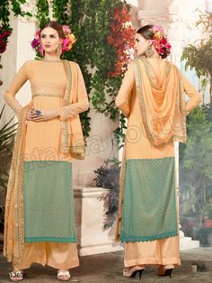 #Designer Stright Suits#Pakistani Suit#Indian Wear#Peach & Green #Desi Fashion #Natasha Couture#Indian Ethnic Wear# Salwar Kameez#Indian Suit#Pakastani Suits# Palazoo