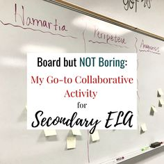Board but NOT BORING: My Go-to Collaborative Activity for Secondary ELA — Bespoke ELA: Essay Writing Tips + Lesson Plans Collaborative Strategies, Essay Writing Tips, High School English, Class Activities, Student Reading, Test Prep, Lesson Plans, Bespoke, Teaching