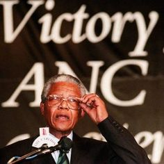 African National Congress leader Nelson Mandela makes a point during a celebration ceremony 02 May 1994 at the ANC campaign headquarters after the his party declared victory in the first South Africa's all-race elections. Photo: Getty Images
