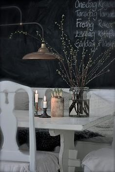 light fixture with all white & chalkboard wall...cute