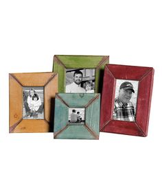 Loving this Wood Picture Frame Set on #zulily! #zulilyfinds - multi colored frames w/black-white photos