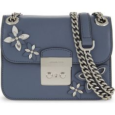 Michael Michael Kors Flowers leather shoulder bag ($335) ❤ liked on Polyvore featuring bags, handbags, shoulder bags, floral leather handbags, blue purse, chain shoulder bag, genuine leather handbags and blue leather purse