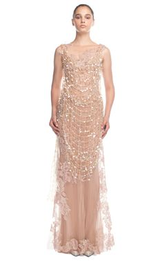 Alberta Ferretti ~ Nude Crochet Overlay Evening Gown at Moda Operandi