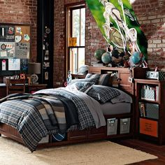Classic Plaid Organic Bedding from PBteen. Cool for the boys room.