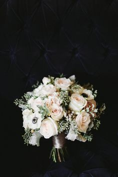 rose and anemone bouquet with seeded eucalyptus, brunia and dusty miller by The English Florist