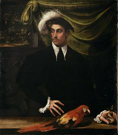 Italienisch, Emilianisch Niccolò dell' Abate (1509 Modena - 1571 Fontainebleau ?) - GND Mann mit Papagei MET Romaine Brooks, Mrs Coulter, A4 Poster, Poster Prints, Jamie Wyeth, Gustave Courbet, His Dark Materials, Singer Sargent, Manet