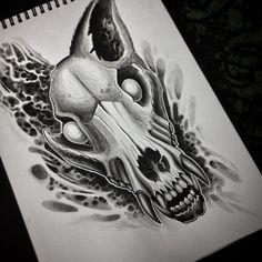 Свежий эскиз, который я с радостью воплощу на вашем теле ☠️☠️☠️ #carnivane #carnivane_tattoo #wolf #wolfskull #skull #ta2 #tat2 #tattoo #tattoos #art #ink #inked #black #dark #darkart #horror #horrorart #zombie #sketch #design #tattoodesign #gettattoo #msk #moscow #moscowcity #moscowtattoo #bioorganic #organic