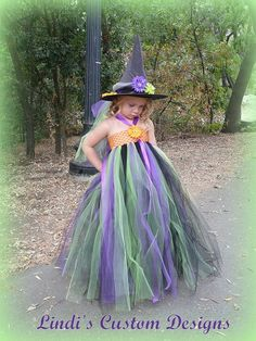 """Little Halloween Witch Tutu Dress & Custom Witch Hat for Toddlers 2 - 5T up to a 23"""" Chest Measurement for Halloween, Parties, Photographs. $89.00, via Etsy."""