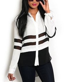 Loving this White & Black Button-Up Top on #zulily! #zulilyfinds