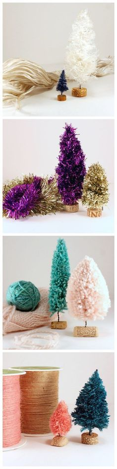 Bottle brush trees using different materials: rope, garland, yarn and twine... dye to color of choice...