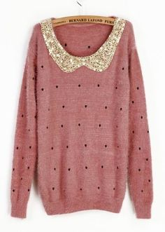 Add a glittered collar to a sweater for an easy wardrobe-upgrade.