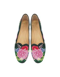 Rose Garden Slipper crafted in multicolor embroidered canvas in a garden motif, is part of the Wish You Were Here collection. Bring a feminine floral touch to your wardrobe while recalling an elegant Victorian English rose garden. Featuring slipper design, rounded toe, heart shaped vamp, all over floral motif, leather piping, 15mm metallic covered heel and leather sole with logo detail. Signature dust bag included. Made in Italy. #charlotteolympiaheelsmetallicleather