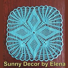 Crochet doily -  Square doilies - Turquoise - Home decor - Turquoise crochet doilies - Mother's Day - Handmade - Handmade tablecloth