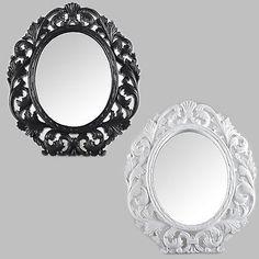 Specchio-Tavolo-Per-Cosmetici-Con-Supporto-Parete-Nero-Bianco-Antico-Barocco
