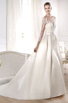 Three Quarter Sleeves High Neck Tulle White/Ivory Satin Princess Wedding Dresses WD149850