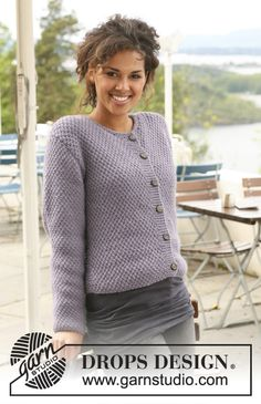 "Pearls in Provence / DROPS - Free knitting patterns by DROPS Design DROPS jacket knitted in pearl pattern in ""Nepal"". ~ DROPS design Always aspired to figure out how to knit, however unsur. Cardigan Design, Knit Cardigan Pattern, Vest Pattern, Sweater Knitting Patterns, Knitting Designs, Knitting Stitches, Free Knitting, Free Pattern, Crochet Patterns"