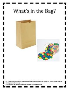 Here's an activity where students use colore tiles and a brown paper bag to complete a probability experiment. Probability Games, Algebra Activities, Math Resources, Numeracy, Math Teacher, Math Classroom, Teaching Math, Math For Kids, Fun Math