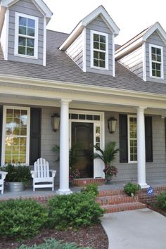 Bungalow Blue Interiors - Home Exterior Paint Colors For House, Paint Colors For Home, House Colors, White Siding House, House Siding, Gray Siding, Black Interior Doors, Black Doors, Brick Porch