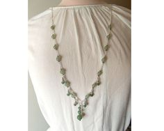 Elegant Aventurine necklace,very long beaded necklace with silver shade findings and Aventurine beads by CapricesDeParisienne on Etsy