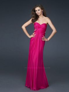 Chiffon Fuchsia Chiffon Strapless Ruche Sweetheart Neckline Sleeveless Floor-Length Bridesmaids Dress