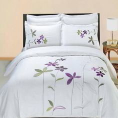 5pc Hotel Style Purple White Embroidered Duvet Cover Set