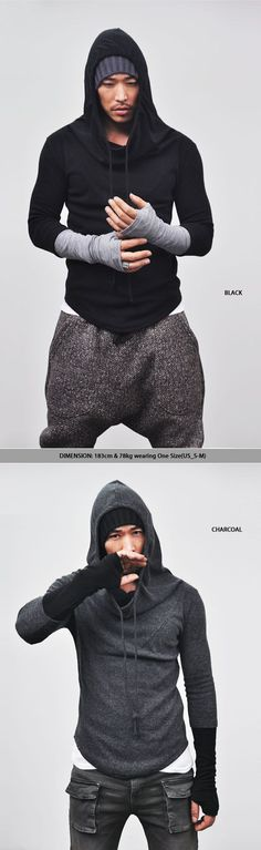 Tops :: Hoodies :: Re)Built-in Warmer Wool Turtle Hood-Knit 24 - Mens Fashion Clothing For An Attractive Guy Look