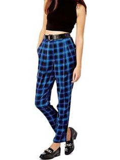 Shop Blue Plaid Harem Pants from choies.com .Free shipping Worldwide.$15.99