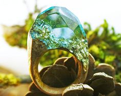 Resin and Wood Ring Magical Resin Rings Resin Jewelry