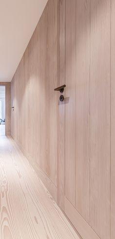 Integrated solid doors in Oregon Pine.