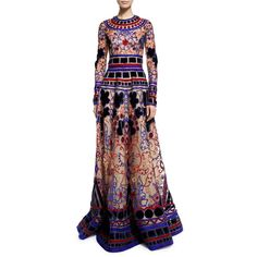 Naeem Khan Long-Sleeve Geometric Applique Gown ($14,990) ❤ liked on Polyvore featuring dresses, gowns, applique dress, purple gown, purple evening gowns, purple evening dresses and long sleeve evening gowns