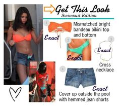 """""""Swimsuit Guide: Filming Spring Breakers ~ March 2012"""" by stylebyselena ❤ liked on Polyvore featuring Jennifer Zeuner, style guide, exact, 2012, swimsuit, selena gomez, bikini, spring breakers, bathing suit and filming"""
