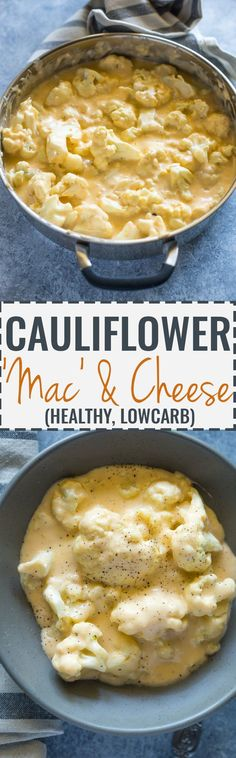 Low-Carb Cauliflower 'Mac' and Cheese A healthy alternative to mac and cheese, made with steamed cauliflower and tastes better without all the added carbs!Just when you thought mac and cheese could not get any better it suddenly does! Diabetic Recipes, Low Carb Recipes, Vegetarian Recipes, Cooking Recipes, Healthy Recipes, Cheese Recipes, Whole30 Recipes, Vegan Meals, Healthy Cauliflower Recipes