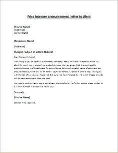 Friendly Rent Increase Letter Awesome Price Increase Announcement Letter to Client House Cleaning Prices, Cleaning Services Prices, Daycare Prices, Business Letter Example, Correspondence Letter, Time Management Activities, How To Make Resume, Price Increase, Welcome Letters
