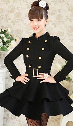 Midnight Coat Ruffled, Double Breasted Black Jacket